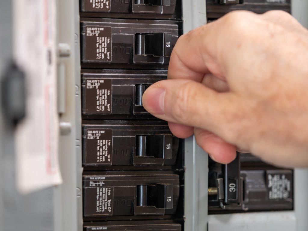 Circuit breaker shut off during electrical safety checklist