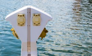 Waterproof outlets on dock.