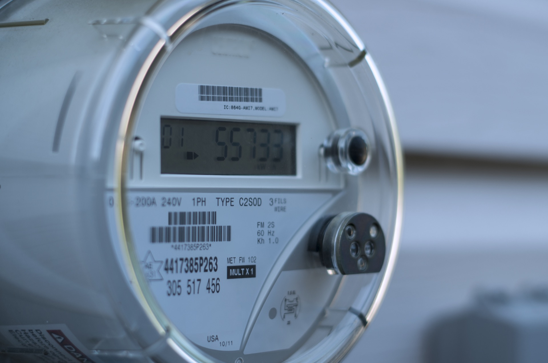 Smart electric meter showing electrical consumption