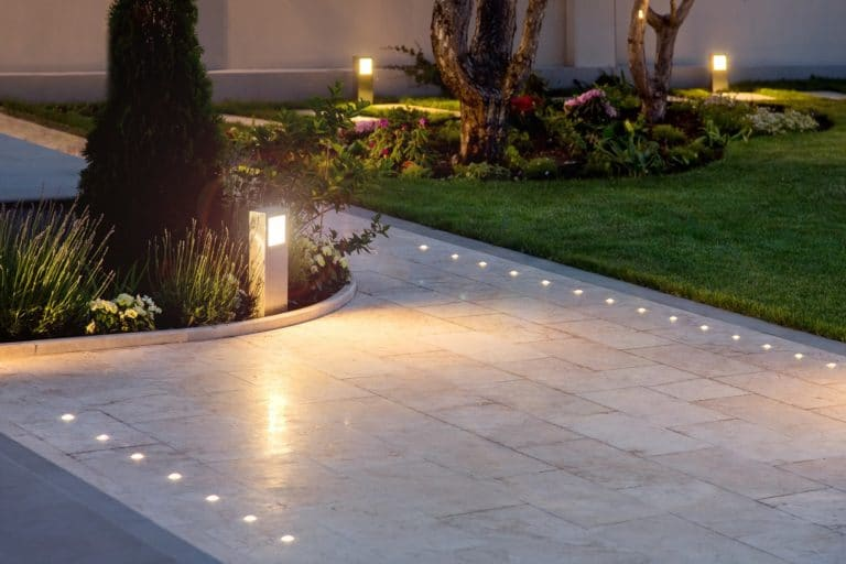 Pathway lit from landscape lighting services